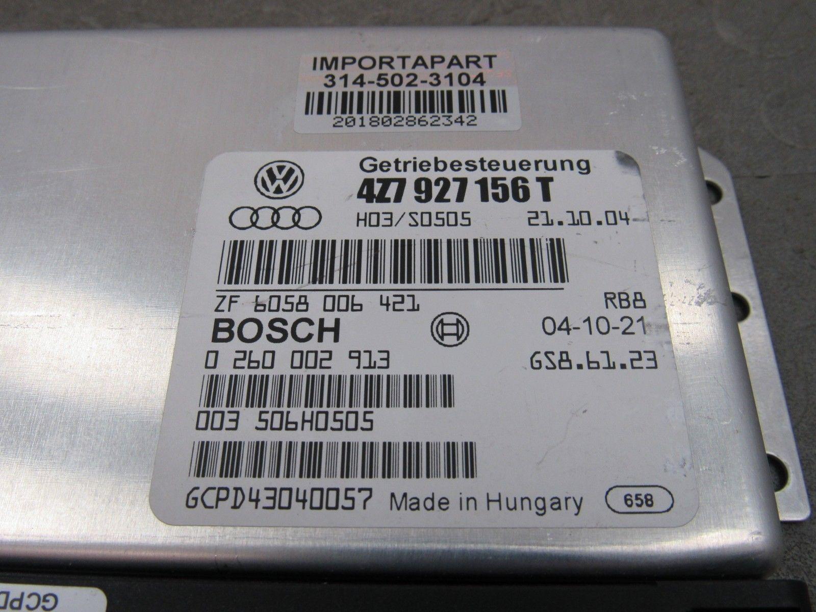 05 Audi Allroad 2 7T TCU TCM Transmission Control Module Unit 4Z7 927 156 T  A