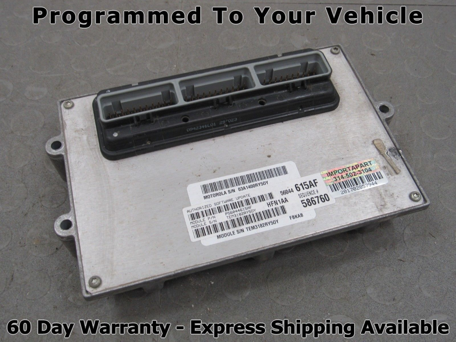 03 Jeep Liberty 2 4L MT 4Cyl PCM ECU ECM Engine Computer 56044615AF 615  PROG E